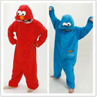 Sesame Street Elmo Cookie Monster Costume Adult Pajamas Pyjamas Onesie Sleepwear