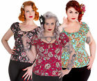 Hell Bunny Candy Sugar Skull Love Blouse Gypsy Top Punk Casual Party Plus Size