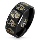 Men's Stainless Steel Ring Band with Skull Design Etched Black IP