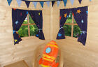 BOYS PLAYHOUSE/DEN CURTAINS ~ NAVY STARS ~ INCLUDES CURTAIN WIRE & TIE BACKS