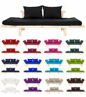 Convertible Day Bed Cotton Fabric Wooden Futon Base & Mattress Set Sofa Sofabed