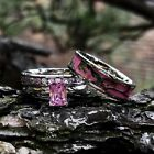 camo wedding band sets - 3pc Pink Camo Stainless Steel Band 925 Sterling Silver Wedding Ring Set