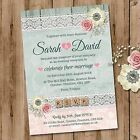 Personalised Wedding Evening Invitations & Envelopes, Rustic Rose Lace