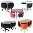Charles Jacobs Dining Table With 4/6 Chairs Set Round Tempered Glass Space Saver