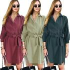 Celeb Womens Long Sleeve Maxi Shirt Evening Party Wrap Dress Belted Coat Jacket