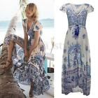 NEW Womens Boho V Neck Short Sleeve Floral Summer Beach Long Maxi Dress Sundress
