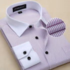 White collar Striped Shirt Mens formal slim casual long business shirt T6309
