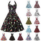 Women Vintage 50s 60s Retro Pinup Swing Floral Party Summer Evening Prom Dress