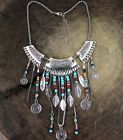 Ethnic Classic Vintage Tibet Silver Coin Turquoise Beads Pendants Long Necklace