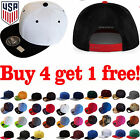 Baseball Cap Plain Two Tone Snapback Adjustable One Size Hat New Flat Bill Blank