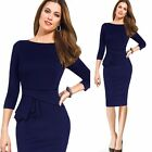Women's 3/4 Sleeve Slim Pencil Midi Skirt Casual Prom Warp Dresses