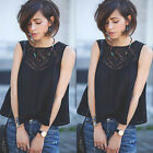 Fashion Ladies Lace Tank Top Sleeveless T-shirt Vest Blouse Tee Tops Size 6-14