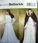 Butterick Sewing Pattern 4377 Ladies Medieval Dress Hood Cape Costume Pick Size