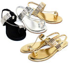 Ambra-77 New Fashion Chain Stone Flat Cute Comfort Sandals Party Women Shoes