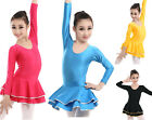 New Girls Kids black blue yellow long sleeve latin ballet dance dress costume