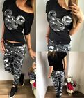 lady Print camouflage Top Pants Suit Set Sports Fitness Tracksuit Long Pants
