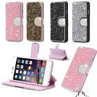 Sparkling Luxury Bling Glitter Flip Wallet Leather Card Case Cover For iPhone