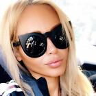 Round Cat Eye Oversized Women Sunglasses Thick Retro Style Frame Fashion Shades