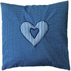 "Navy Blue Checked Cotton with Striped Heart Cushion Cover Shabby Chic 16"" x 16"""