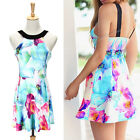 Women Summer Beach Casual Sleeveless Printing Floral Evening Party Mini Dress