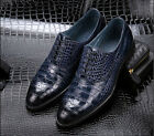 New Business Men's Real Leather Dress Formal shoes Crocodile Print Lace up