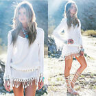 Womens Summer  Boho hippie Tassel Chiffon Lace White Mini Dress Sundress UK 8-22