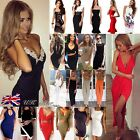 UK Womens Navy Bodycon Strappy V Neck Lace Evening Party Ladies Midi Dress 6-16