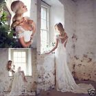 Plus Size Bohemia White/Ivory Lace Wedding Dresses Bridal Ball Gown Custom 2-26+