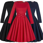 Classic Vintage Style 50s Cotton Long Sleeve Party Swing Cocktail Evening Dress