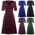 Ladies Retro Vintage Style Short Sleeve Cocktail Evening Party Swing Prom Dress
