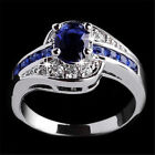 Women Blue Crystal White Gold Filled Bride Engagement Wedding Ring Size 7 8 9