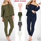 Womens Ladies Frill Off Shoulder Topand Trouser Two Piece Lounge Wear Style Suit