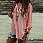 HOT Women's Loose T-Shirt Chiffon Button Tops Long Sleeve Casual Blouse Fashion