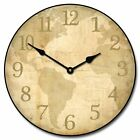"Parchment World Map LARGE WALL CLOCK 10""- 48"" Quiet Non-Ticking WOOD HANDMADE"