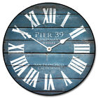 "Pier 39 Blue LARGE WALL CLOCK 10""- 48"" Whisper Quiet Non-Ticking WOOD HANDMADE"