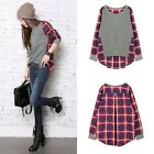 Hot Korean Women Fashion Tee Batwing Long Sleeve Casual Checkers T-SHIRT TOPS