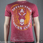 Affliction AC FLAG A7952 Men's T-shirt Tee Dirty Red Burnout