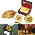 24K Karat Gold Foil Lattice Plated Poker Playing Card +Nice Wood Box&Certificate