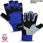 Weight Lifting Gloves Gym Fitness Body Building Workout Long Wrist Straps