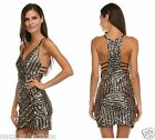 SEXY CELEB GOLD SEQUIN PRINT PLUNGE OPEN BACK BODYCON FITTED MINI DRESS S M L