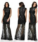 BLACK TREE EFFECT SEQUIN SHEER FISHTAIL MAXI PROM EVENING PARTY DRESS 8-16