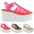 WOMENS LADIES RETRO JELLY SANDALS CHUNKY SOLE FLATFORMS SUMMER WEDGES SHOES SIZE