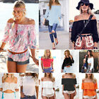 Summer Women Sexy Off The Shoulder T-Shirt Casual Loose Tops Blouse Tee UK  6-14