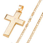 24P14 MEN's Stainless Steel Gold Lord Prayer Cross Pendant Figaro Chain Necklace