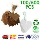 LOVE HEART WHITE / BROWN KRAFT STRING TWINES PAPER TAGS 100 & 500 PCS