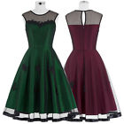Womens Sleeveless Vintage Cocktail Party Dress 50s 60s Casual Short Swing Dress