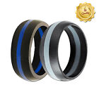 Gym Rings! Men's Black & Blue and Solid Black Silicone Wedding Bands! 2 Rings!