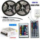 2835 5050 5M 10M 300LEDs RGB Flexible LED Strip Light +24/44Key Remote+12V Power