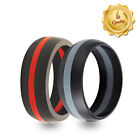 Black & Red and Black & Grey Silicone Wedding Band - Workout Wedding Rings! 2 pk