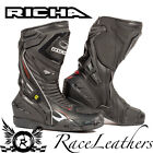 RICHA TRACER EVO BLACK LEATHER TEXTILE WATERPROOF MOTORCYCLE MOTORBIKE BOOTS